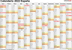 Plantilla 2: calendario 2022 para España en formatos Word, Excel y PDF, horizontal, 1 página