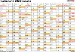 Plantilla 2: calendario 2023 para España en formatos Word, Excel y PDF, horizontal, 1 página