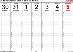 Plantilla 1: calendario semanal 2020 para España en formatos Word, Excel y PDF, horizontal, 53 páginas, diseño para la gestión del tiempo (18 horas al día desde las 6:00 hasta las 0:00 en intervalos de una hora)