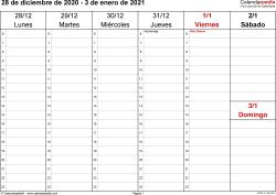 Plantilla 4: calendario semanal 2021 para España en formatos Word, Excel y PDF, horizontal, 53 páginas, el sábado y el domingo comparten una columna