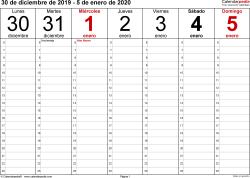 Plantilla 1: calendario semanal 2021 para España en formatos Word, Excel y PDF, horizontal, 53 páginas, diseño para la gestión del tiempo (18 horas al día desde las 6:00 hasta las 0:00 en intervalos de una hora)