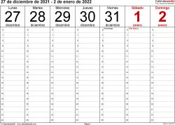 Plantilla 1: calendario semanal 2022 para España en formatos Word, Excel y PDF, horizontal, 53 páginas, diseño para la gestión del tiempo (18 horas al día desde las 6:00 hasta las 0:00 en intervalos de una hora)