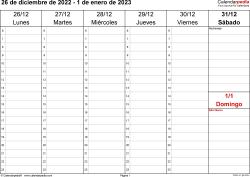 Plantilla 4: calendario semanal 2023 para España en formatos Word, Excel y PDF, horizontal, 53 páginas, el sábado y el domingo comparten una columna