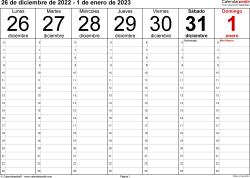 Plantilla 1: calendario semanal 2023 para España en formatos Word, Excel y PDF, horizontal, 53 páginas, diseño para la gestión del tiempo (18 horas al día desde las 6:00 hasta las 0:00 en intervalos de una hora)