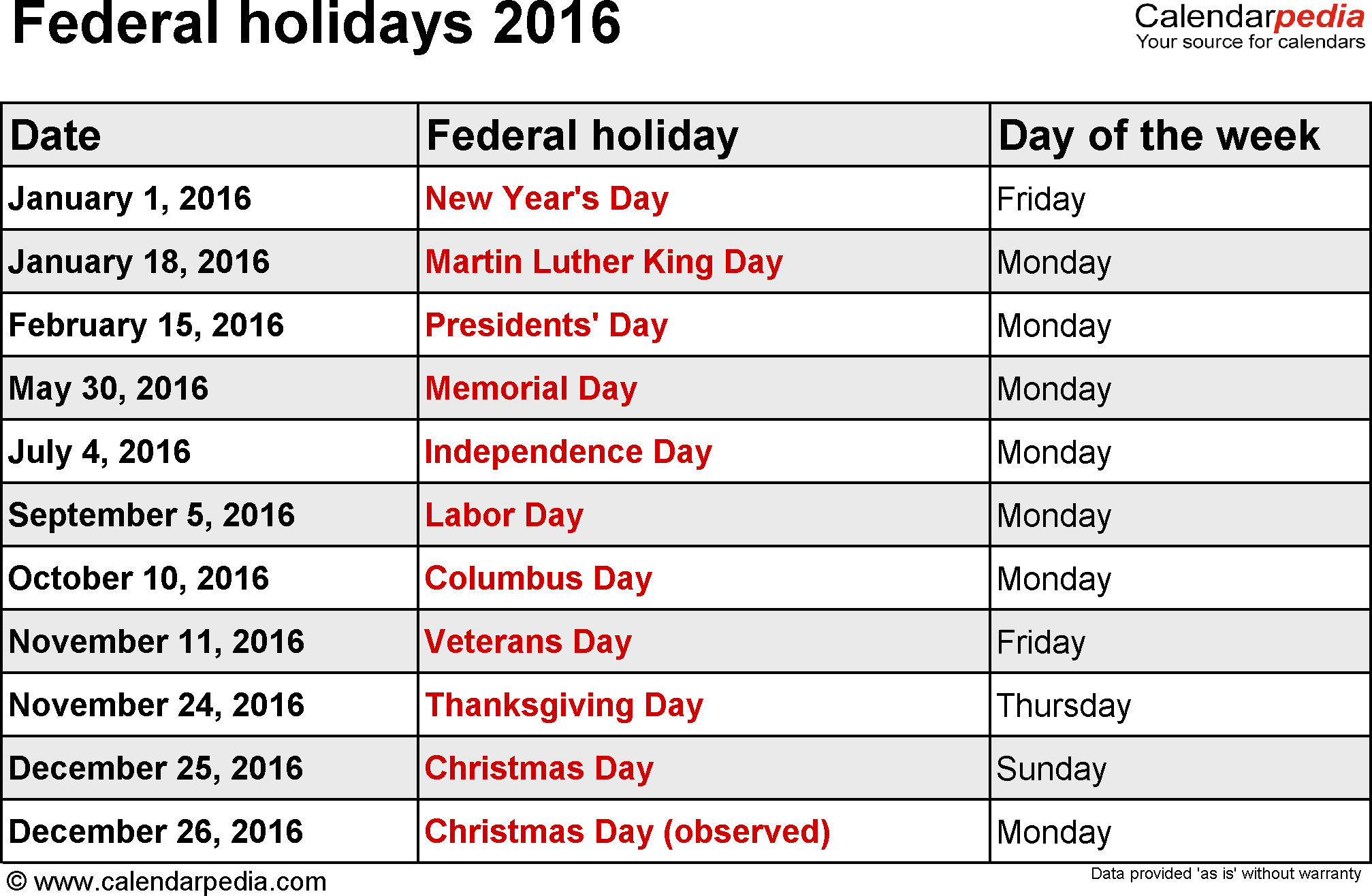 holidays 2016 as templates for word excel pdf federal holidays 2016 ...