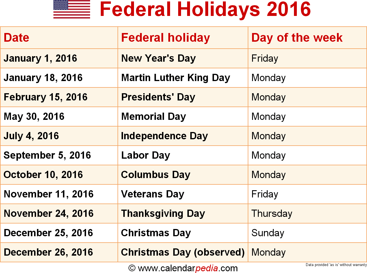 Download federal holidays 2016 as graphic/image file