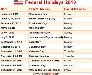 Download Federal Holidays 2010 As PNG File