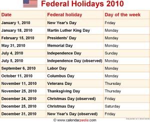 Federal holidays 2010