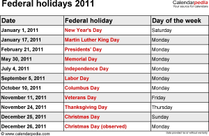 Federal holidays 2011 in Word format, Excel and PDF