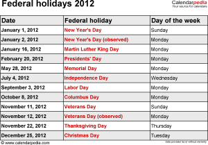 Federal holidays 2012 in Word format, Excel & PDF