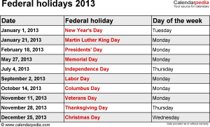 Federal holidays 2013 in Word format, Excel & PDF
