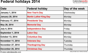 Federal holidays 2014 in Word format, Excel & PDF