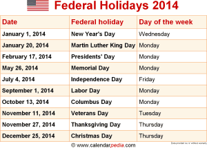 Download federal holidays 2014 as graphic/image file