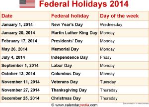 Federal holidays 2014