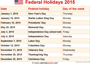 Federal holidays 2015 for 2015 calendar template with canadian holidays