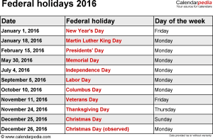 Federal holidays 2016 in Word format, Excel & PDF
