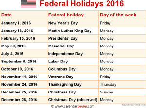 download federal holidays 2016 as png file - Holiday Pictures To Download