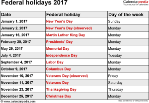 Federal holidays 2017 in Word format, Excel & PDF