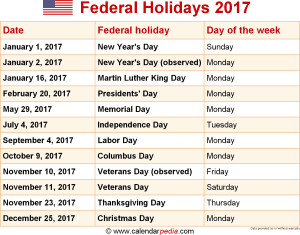 Download federal holidays 2017