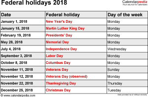 Federal holidays 2018 in Word format, Excel & PDF