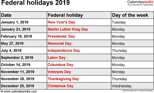 Federal holidays 2019 in Word format, Excel & PDF