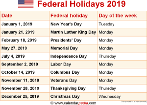 2019 Federal Calendar Federal Holidays 2019