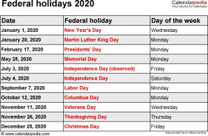 Federal holidays 2020 in Word format, Excel and PDF