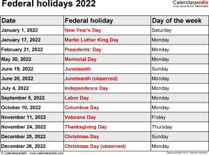 Federal holidays 2022 in Word format, Excel & PDF