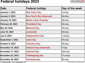 Federal holidays 2023 in Word format, Excel and PDF