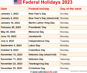 Download federal holidays 2023 as PNG file