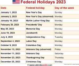 Federal holidays 2023