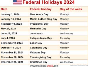 Federal holidays 2024