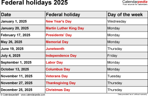Federal holidays 2025 in Word format, Excel and PDF