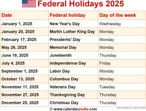 Download Federal Holidays 2025 As PNG File