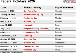 Federal holidays 2026 in Word format, Excel & PDF