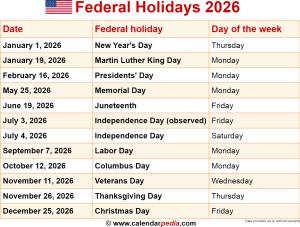 Federal holidays 2026