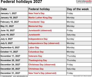 Federal holidays 2027 in Word format, Excel & PDF