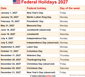 Download federal holidays 2027 as PNG file