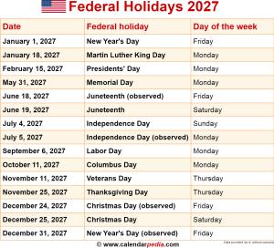 Federal holidays 2027