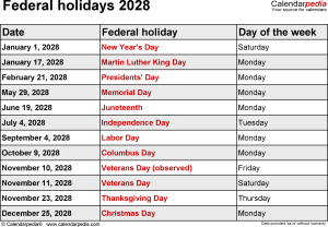 Federal holidays 2028 in Word format, Excel & PDF