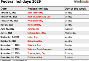 Federal holidays 2029 in Word format, Excel and PDF