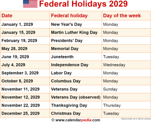Download federal holidays 2029 as PNG file