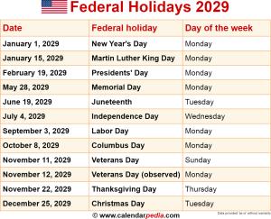 Federal holidays 2029