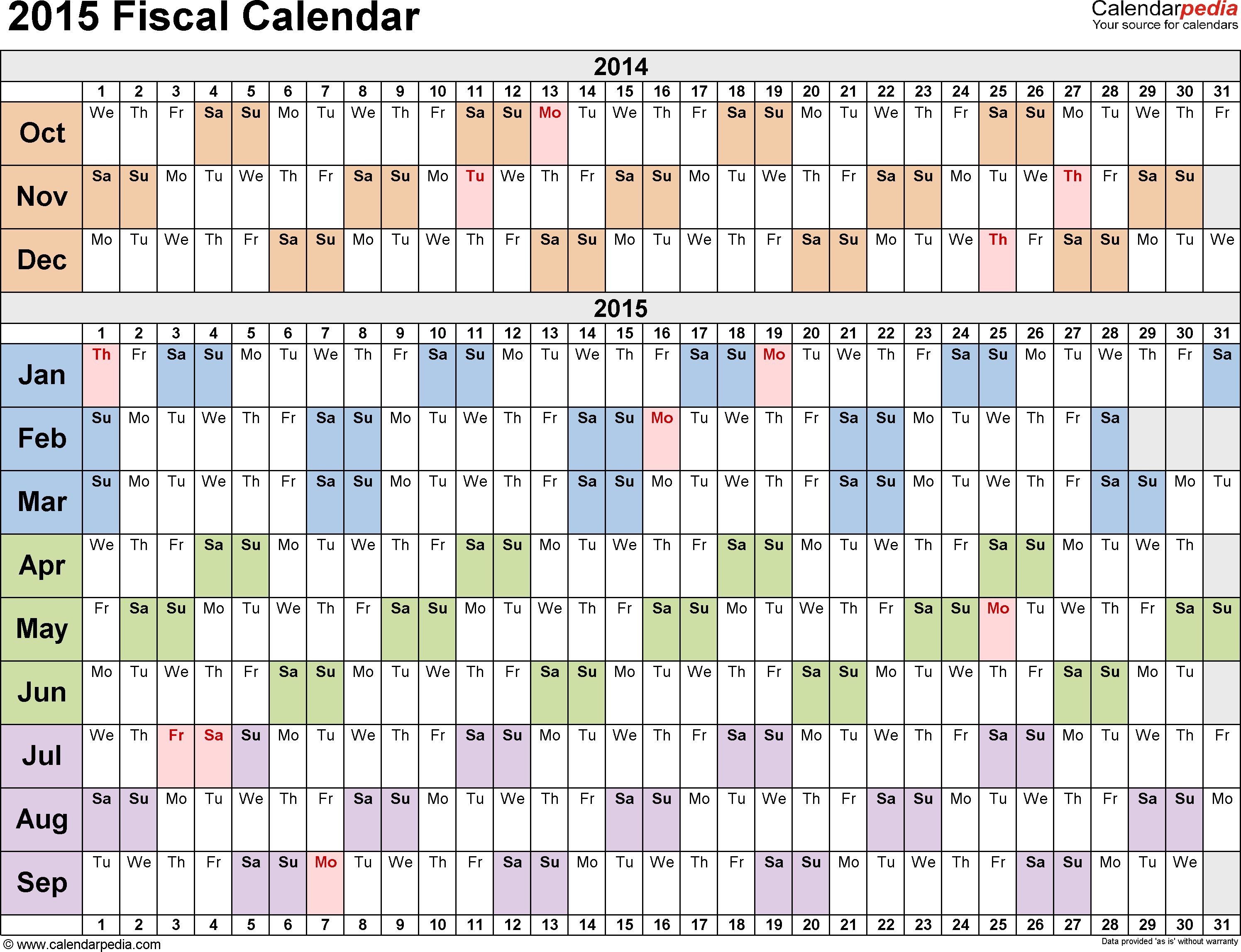 Template 2: Fiscal year calendar 2015 for PDF, landscape orientation, days horizontally (linear), 1 page