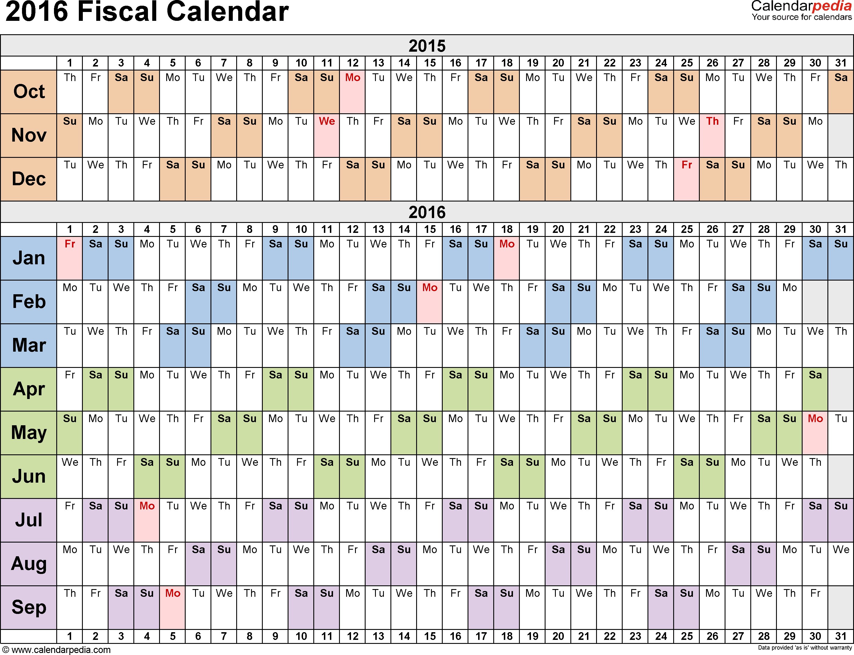 Template 3: Fiscal year calendar 2016 for PDF, landscape orientation, days horizontally (linear), 1 page