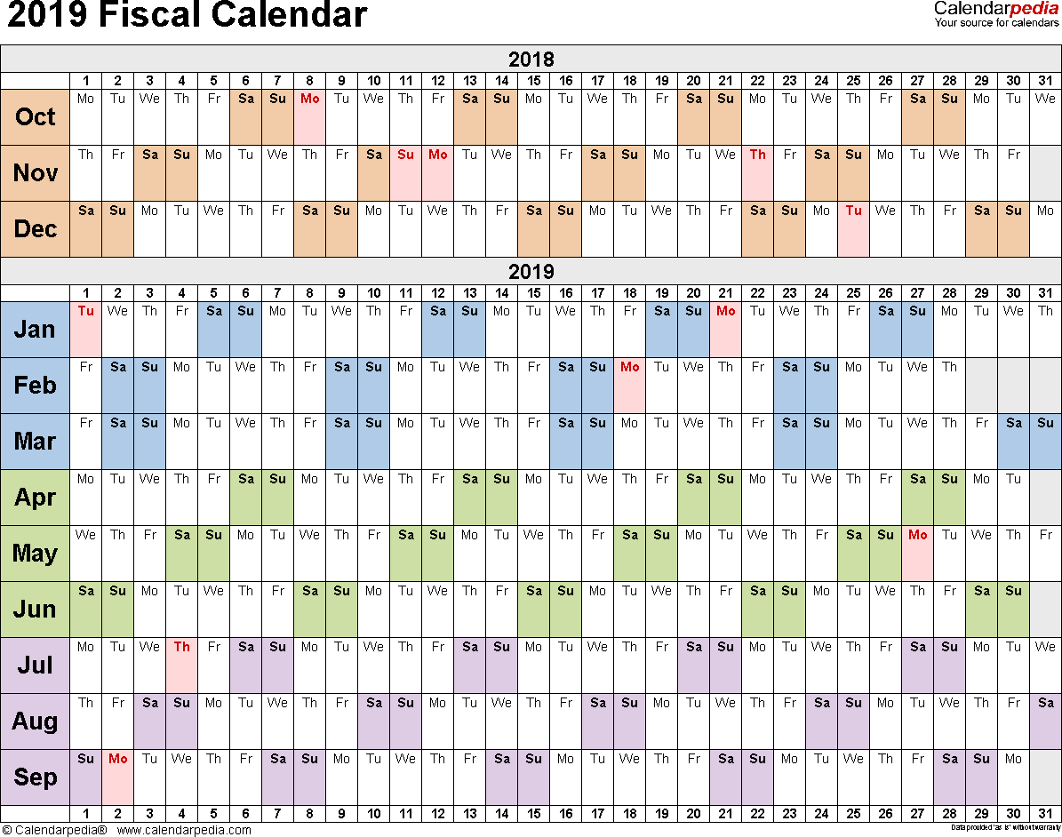 Template 2: Fiscal year calendar 2019 for Excel, landscape orientation, days horizontally (linear), 1 page