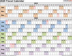 Template 3: Fiscal year calendar 2020 for Excel, landscape orientation, days horizontally (linear), 1 page
