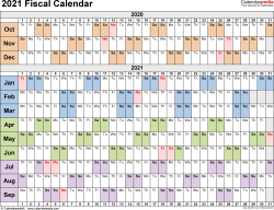 Template 3: Fiscal year calendar 2021 for PDF, landscape orientation, days horizontally (linear), 1 page