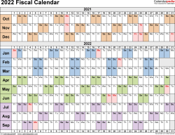 Template 3: Fiscal year calendar 2022 for PDF, landscape orientation, days horizontally (linear), 1 page