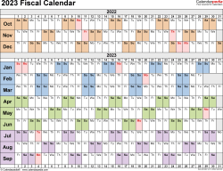 Template 3: Fiscal year calendar 2023 for Microsoft Word (.docx file), landscape, 1 page, linear